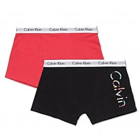 Boys 2 Pack Modern Cotton Boxer Trunk, Black / Raspberry