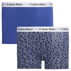 Boys 2 Pack Modern Cotton Boxer Trunk, Blue / CK Logo Print