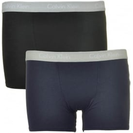 Boys 2 Pack Modern Cotton Boxer Trunk, Blue Shadow Outline Logo / Black