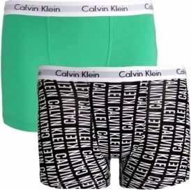 Boys 2 Pack Modern Cotton Boxer Trunk, Caps Logo Black / Holly Green