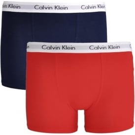 Boys 2 Pack Modern Cotton Boxer Trunk, Mars Red / Blue Shadow