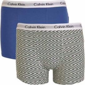 Boys 2 Pack Modern Cotton Boxer Trunk, Medium Grey Chevron Print / Cobalt Water Blue