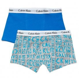 Boys 2 Pack Modern Cotton Boxer Trunk, Scribble Logo / Imperial Blue