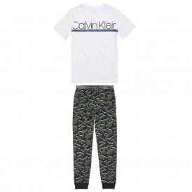 Boys Customized Stretch PJ set, White / Camo Print