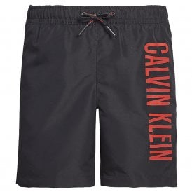 Boys Intense Power Medium Drawstring Swim Shorts, Black With Red Logo