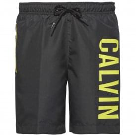 Boys Intense Power Swim Shorts, Black & Yellow