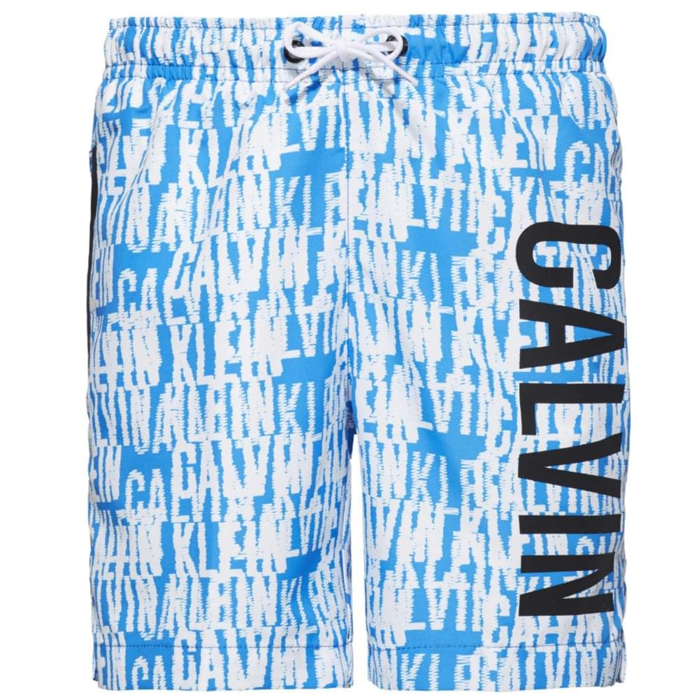 e2557df452 Calvin Klein Boys Intense Power Swim Shorts, Blue & White Logo