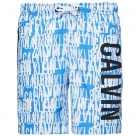 Boys Intense Power Swim Shorts, Blue & White Logo