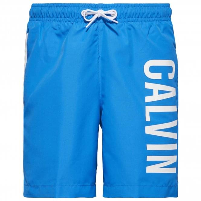 Calvin Klein Boys Intense Power Swim Shorts, Electric Blue Lemonade