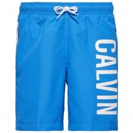Boys Intense Power Swim Shorts, Electric Blue Lemonade