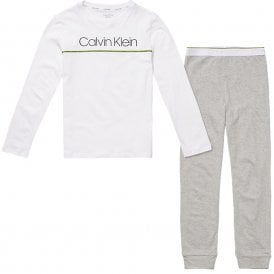 Boys Knit PJ set, Grey / White