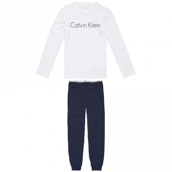 Calvin Klein Boys Knit PJ set, White / Blue Shadow