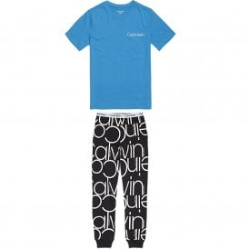 Boys Modern Cotton PJ set, Blue / Black Oversized Logo