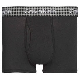 Check Cotton Stretch Trunk, Black