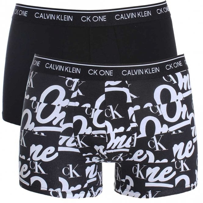 Calvin Klein CK One Cotton Stretch 2 Pack Trunk, Black/Logo Print
