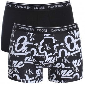 CK One Cotton Stretch 2 Pack Trunk, Black/Logo Print