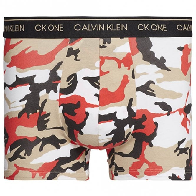 Calvin Klein CK One Cotton Stretch Trunk, Fergus Camo / Adrenaline Rush