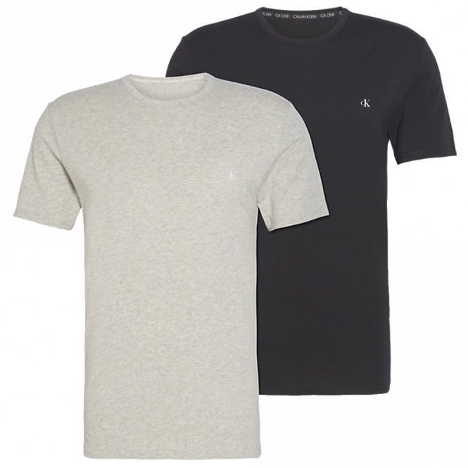 Calvin Klein CK One Short Sleeved Crew Neck T-Shirt 2-Pack, Black / Grey