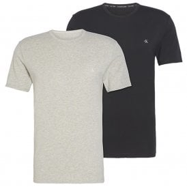 CK One Short Sleeved Crew Neck T-Shirt 2-Pack, Black / Grey