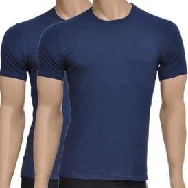 CK One Short Sleeved Crew Neck T-Shirt 2-Pack, Blue Shadow