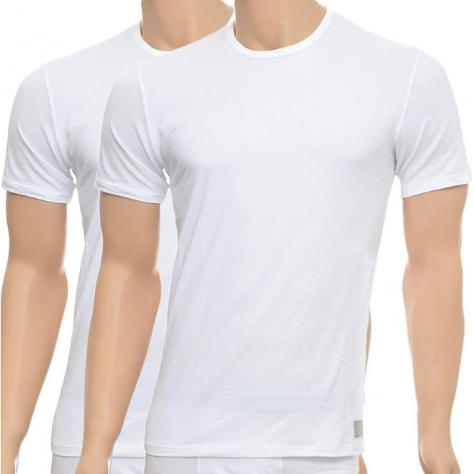 987c8924456211 Calvin Klein CK One Short Sleeved Crew Neck T-Shirt 2-Pack, White, Small