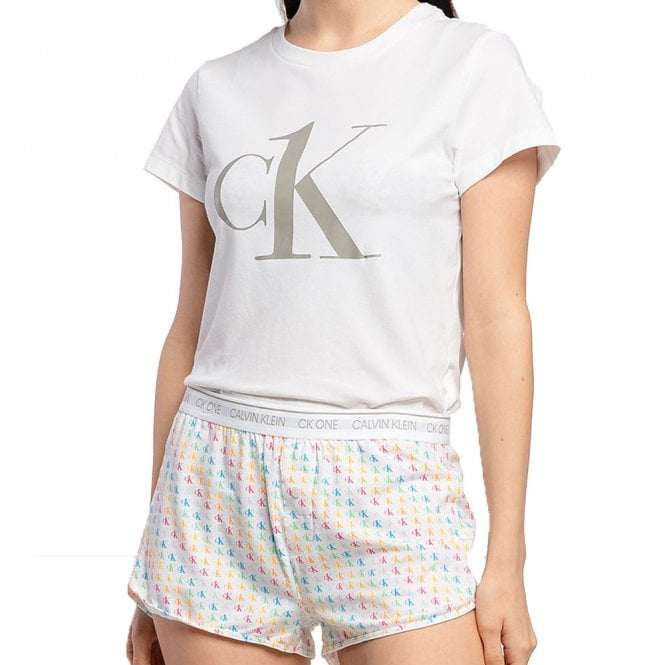 Calvin Klein CK One T-Shirt/Short PJ Set, Pride Colours Mini CK One Logo Print