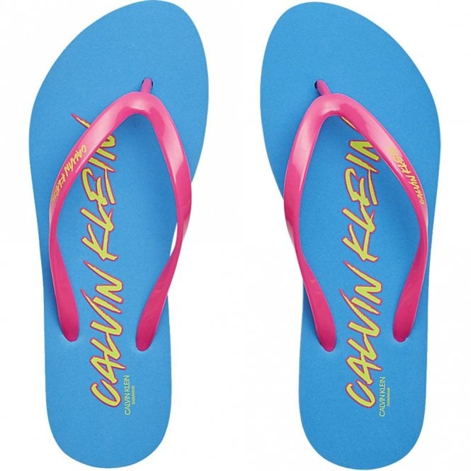 Calvin Klein CK Wave Flip Flop Sandals, Diva Blue