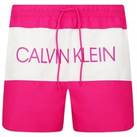 Core Logo Medium Drawstring Swim Shorts, Jewel Pink