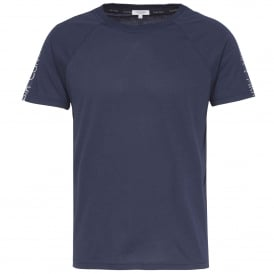 Core Logo Tape Relaxed Crew Neck T-Shirt , Blue Shadow