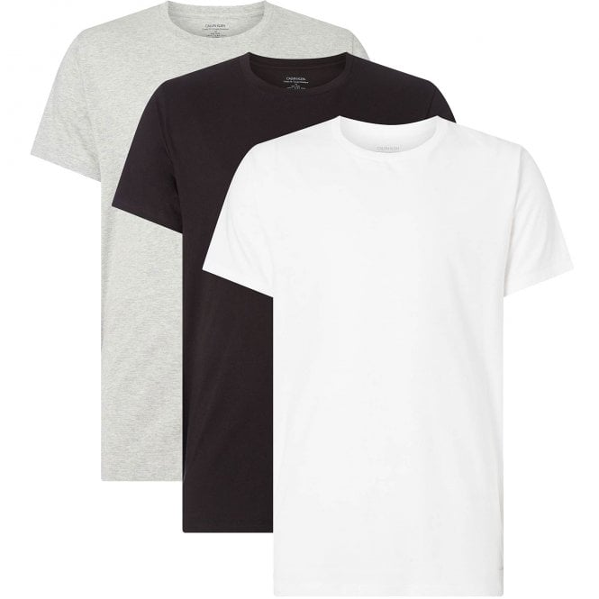 Calvin Klein Cotton 3-Pack Short Sleeved Crew Neck T-Shirt, Black/White/Grey