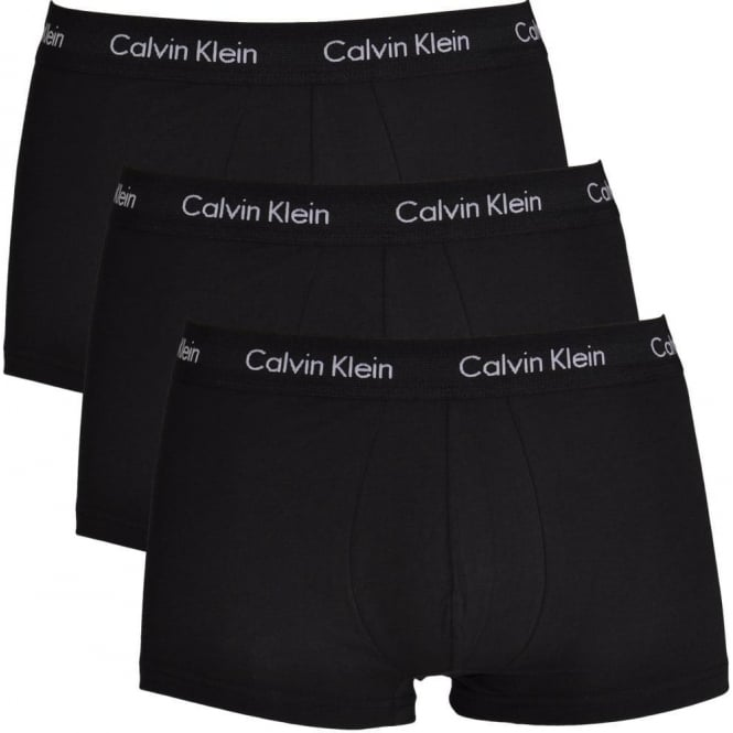 Calvin Klein Cotton Stretch 3 Pack Low Rise Trunk, All Black