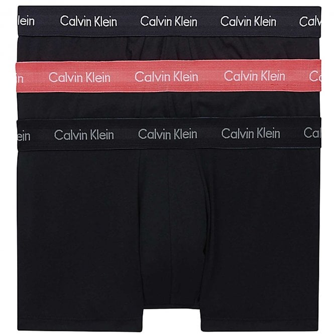 Calvin Klein Cotton Stretch 3 Pack Low Rise Trunk, Black with Black/Coral Lip/Phantom