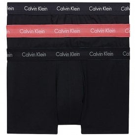 Cotton Stretch 3 Pack Low Rise Trunk, Black with Black/Coral Lip/Phantom