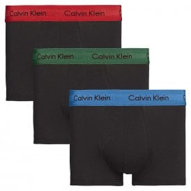 Cotton Stretch 3 Pack Low Rise Trunk, Black with Eden / Vallarta Blue / Temper