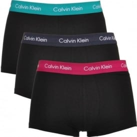 Cotton Stretch 3 Pack Low Rise Trunk, Black With Green/Purple/Navy