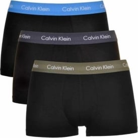 Cotton Stretch 3 Pack Low Rise Trunk, Black with Hunter/Blue/Blue