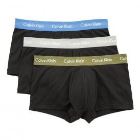 Cotton Stretch 3 Pack Low Rise Trunk, Black With Olive / Blue / Grey