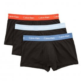 Cotton Stretch 3 Pack Low Rise Trunk, Black With Orange / Blue / Sky Blue