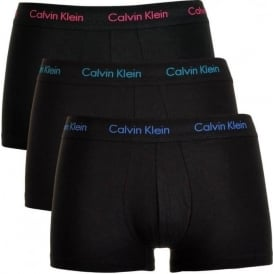 Cotton Stretch 3 Pack Low Rise Trunk, Black with Pink/Green/Blue
