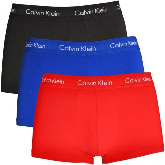 Calvin Klein Cotton Stretch 3 Pack Low Rise Trunk, Muscari Blue/Magnet/Red Heat