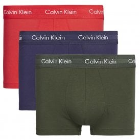 Cotton Stretch 3 Pack Low Rise Trunk, Red / Green / Navy