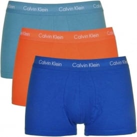 Cotton Stretch 3 Pack Low Rise Trunk, Royal Blue/Blue/Orange