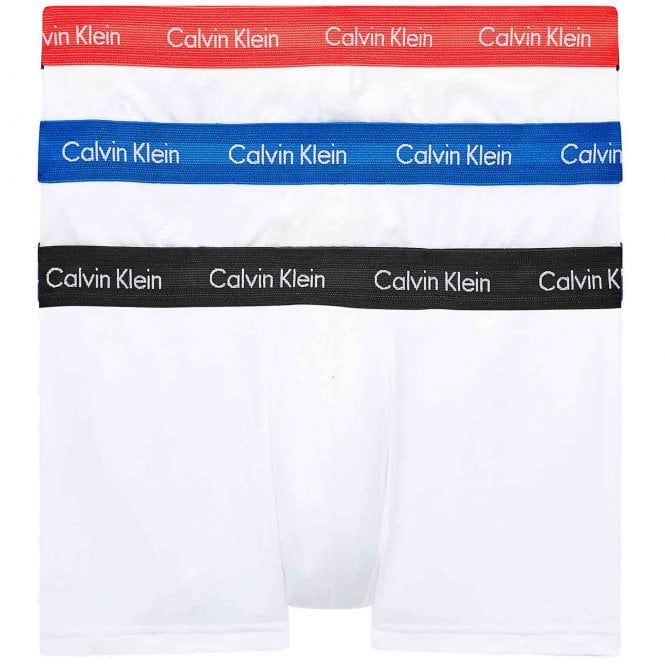Calvin Klein Cotton Stretch 3 Pack Low Rise Trunk, White with Blue/Strawberry Field/Black