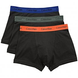 Cotton Stretch 3 Pack Trunk, Black with Khaki Green / Blue / Orange
