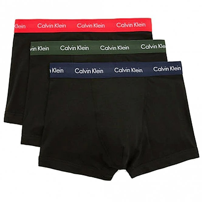 Calvin Klein Cotton Stretch 3 Pack Trunk, Black with Red / Green / Navy