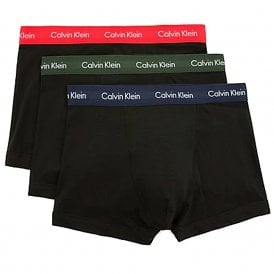 Cotton Stretch 3 Pack Trunk, Black with Red / Green / Navy