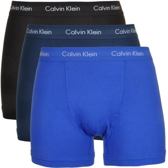Calvin Klein Cotton Stretch 3 Pack Trunk, Blue/Black/Navy