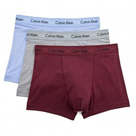 Cotton Stretch 3 Pack Trunk, Blue / Grey / Burgundy