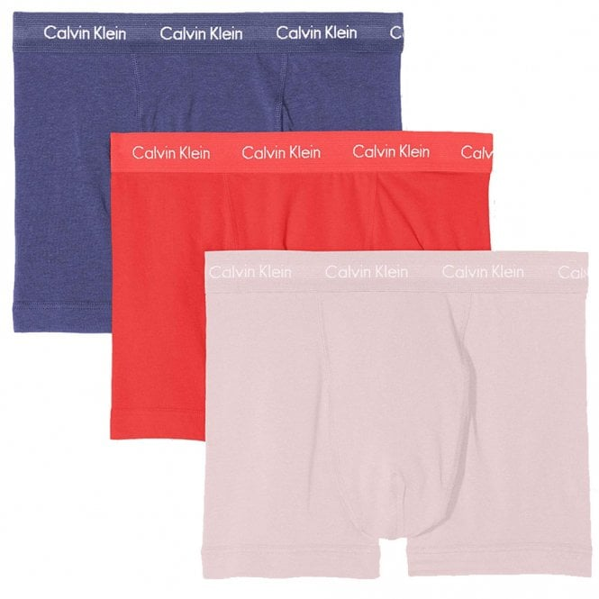 Calvin Klein Cotton Stretch 3 Pack Trunk, Blue Whale/Wildflower/Bubblegum