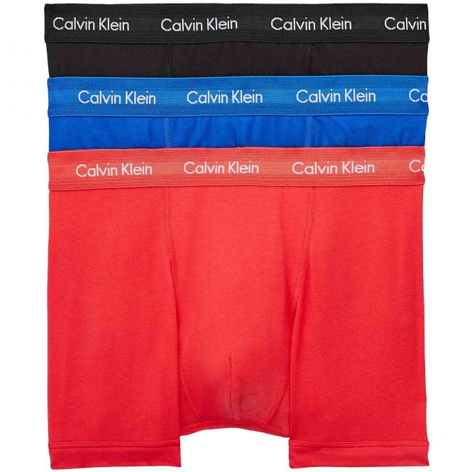 Calvin Klein Cotton Stretch 3 Pack Trunk, Kettle Blue/Strawberry Field/Black